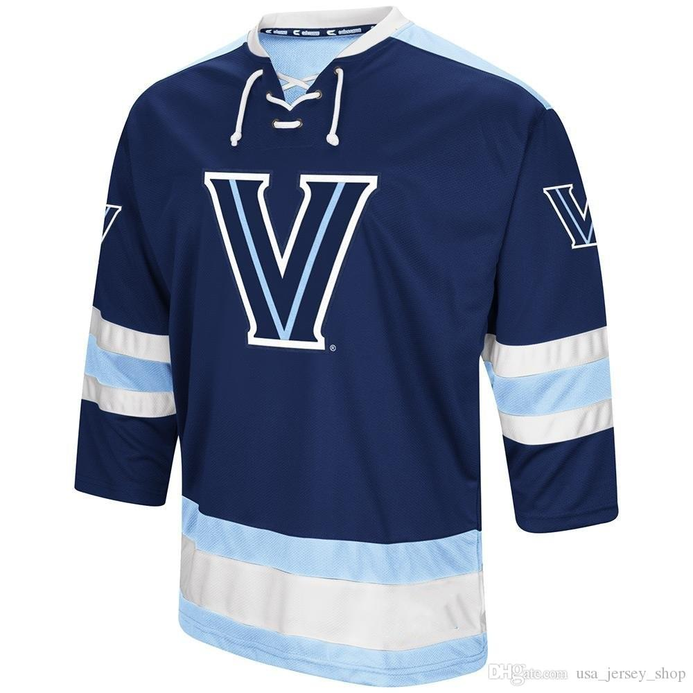 사용자 정의 빈티지 Villanova Wildcats Hockey Jersey 2019 NCAA College Hockey Jersey White Red Stitched Any Name Name Name Jersey S-3XL