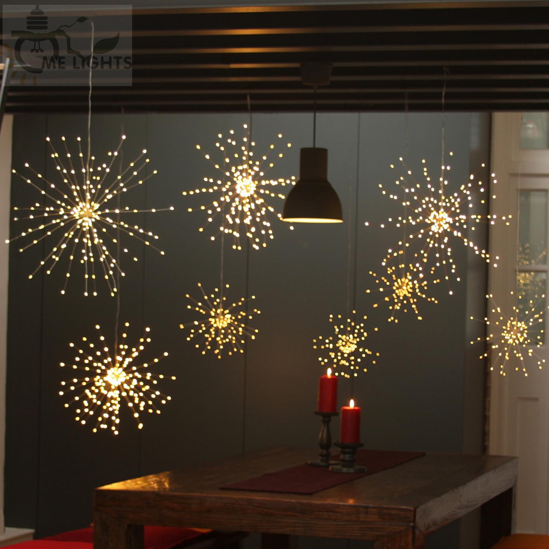 8 Mode LED Lights Fireworks Solar String Lights 200 LED Solar Lamp Remote Control Decoration XMAS Light for Party Bar Christmas DHL AN2674