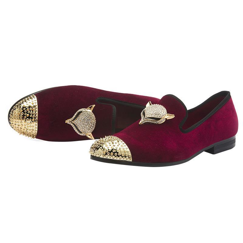 Britischer Metall Spitzbrautschuh Men Casual Business-Rot Schwarz-Partei-Kleid Büro-Schuhe plus Größe 46 Herren-Leder-Schuhe