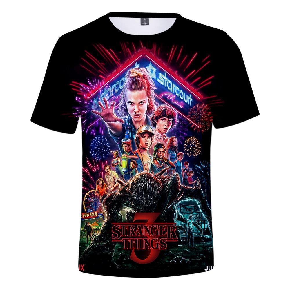 Stranger Şeyler 3 3D Baskılı T Gömlek Erkek / Kız / Çocuk T-Shirt Baş Aşağı Aşağı Onbir Komik Tshirt Grafik Tees Kawaii Giysileri