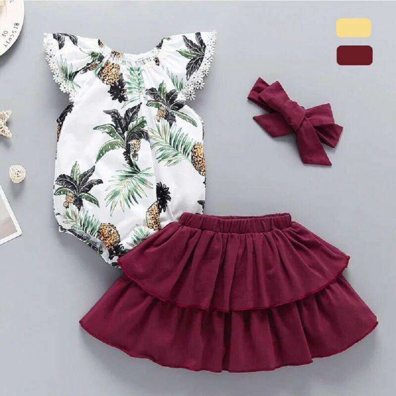 3pcs infantile Vêtements de bébé fille manches volantées Floral Romper Tutu Ensemble robe Outfit