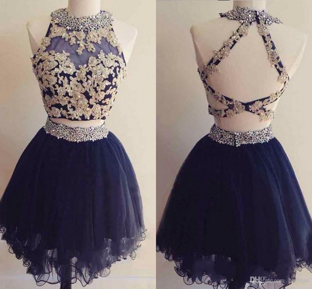 귀여운 두 조각 미니 짧은 홈 커밍 드레스 네이비 블루 아플리케 골치 아픈 건없는 달콤한 16 졸업 드레스 짧은 칵테일 파티 드레스
