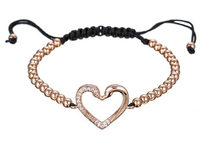 oro argento 4 millimetri rosa micro oro della CZ zircone corda regolata Macrame il braccialetto dgrwrh09 cuore fascino intrecciato intrecciatura Bangles