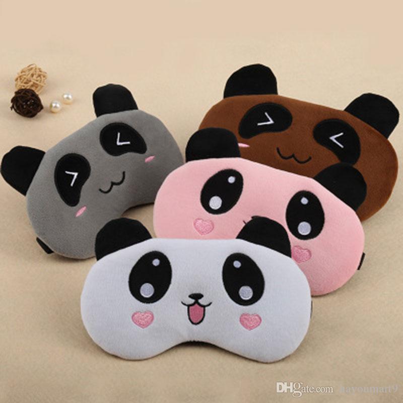 Mignon Ours Panda Masque sommeil yeux Voyage Rose enfants filles Eyepatch doux aide réglable Cartoon Portable Blindfold No Ice Bag