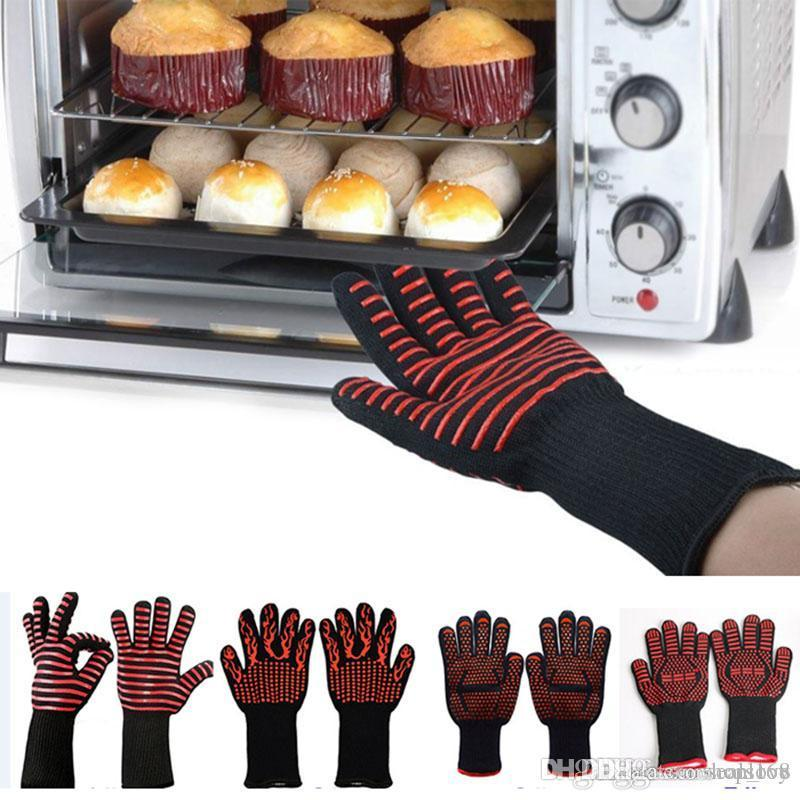 Heat Resistant Gloves Great For Oven BBQ Baking Cooking Mitts In Insulated Kitchen Protection 500 Celsius Silicone BBQ Gloves TY7-314