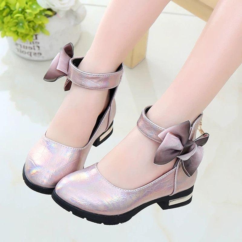 Parti Düğün Büyük Kız Elbise Ayakkabı için Pembe Çocuk Kız Deri Ayakkabı Çocuklar Yüksek topuklu Kız Prenses Ayakkabı