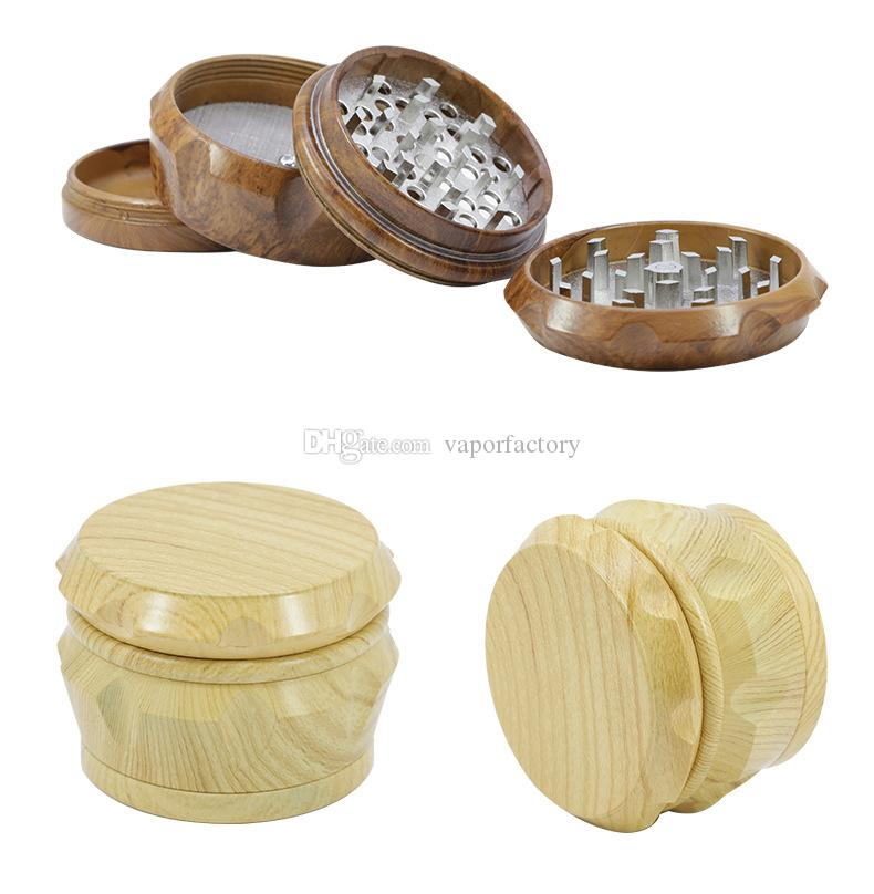 Dia 50mm 4 Parts Wooden Spice mill wood Herb grinder Handle 40MM 63MM wood Tobacco Grinders Spice Crusher for Smoking Pipe hand muller