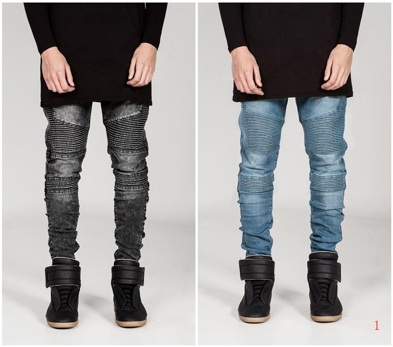 Fashion Men's Jeans 20s New Designer Men Wrinkle Skinny Small Feet Micro-elasticmen Washed Jeans 3 Colores Selected Size S-4XL