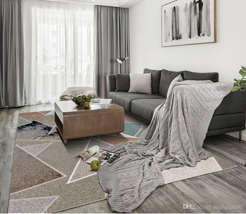 Пользовательские Пол Фреска Обои Модный современный минималистский геометрия 3D Полы Гостиная Спальня Балкон ПВХ Пол Стикер Home Decor