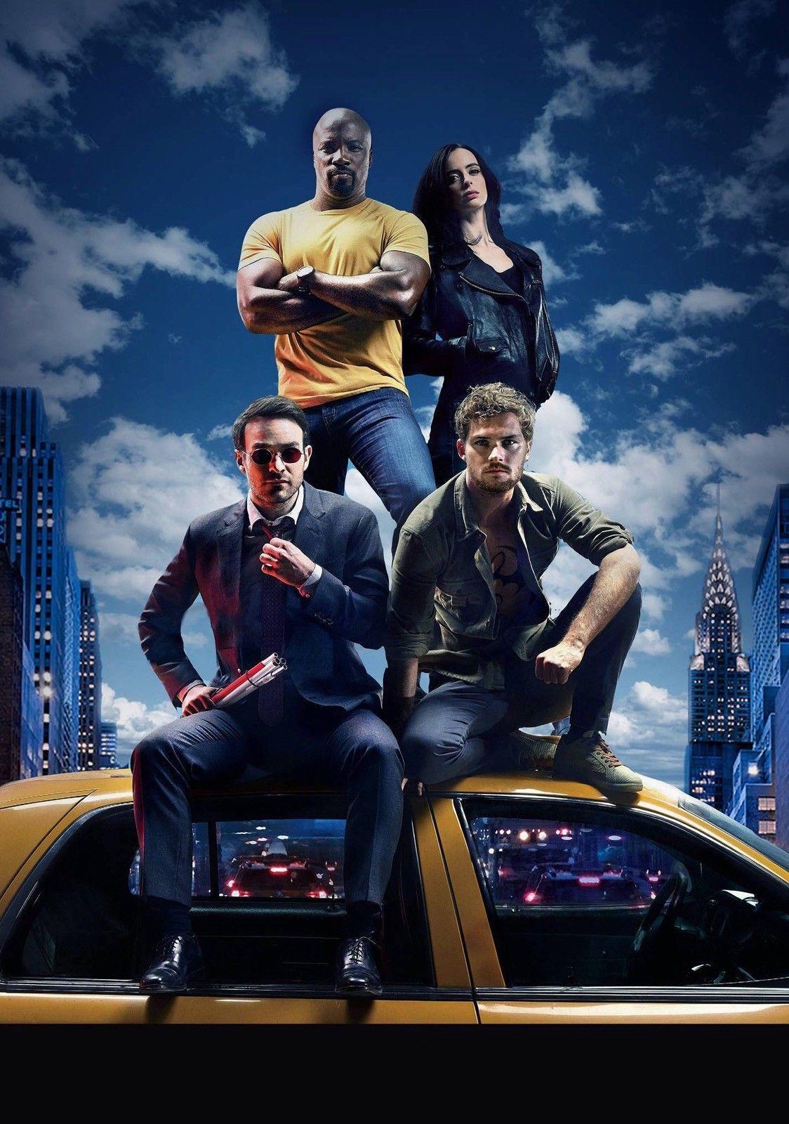 THE DEFENDERS Serie de programas de televisión Art Luke Cage Jessica Jones Art Póster con estampado de seda 24x36 pulgadas (60x90cm)