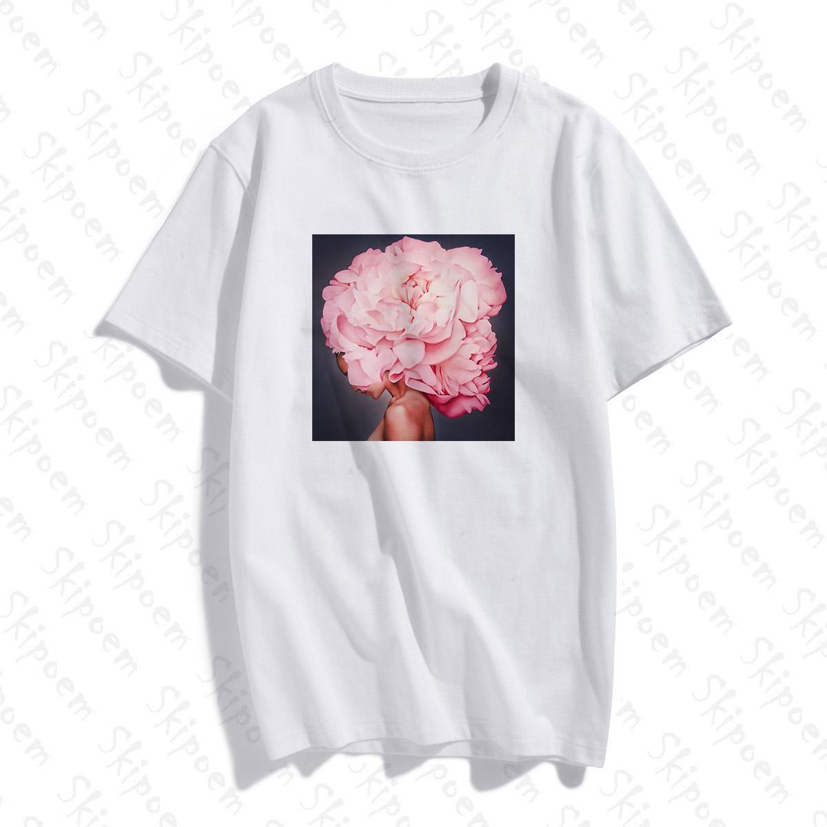 Фотография Art Fashion Sexy Flower Ar футболки Женщины Корейский Стиль Harajuku Punk Tumblr хлопок плюс размер с коротким рукавом Top тройники