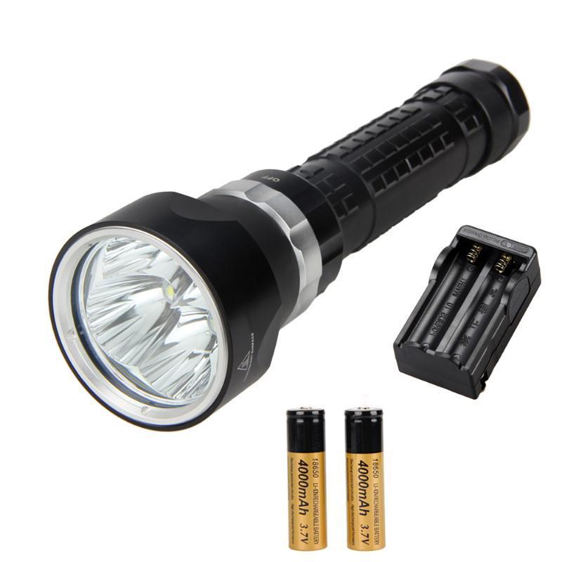 Фонарики факелов 6000LM подводное плавание 4x XML U2 светодиодный солнечный водонепроницаемый водонепроницаемый свет + 2x18650 + зарядное устройство