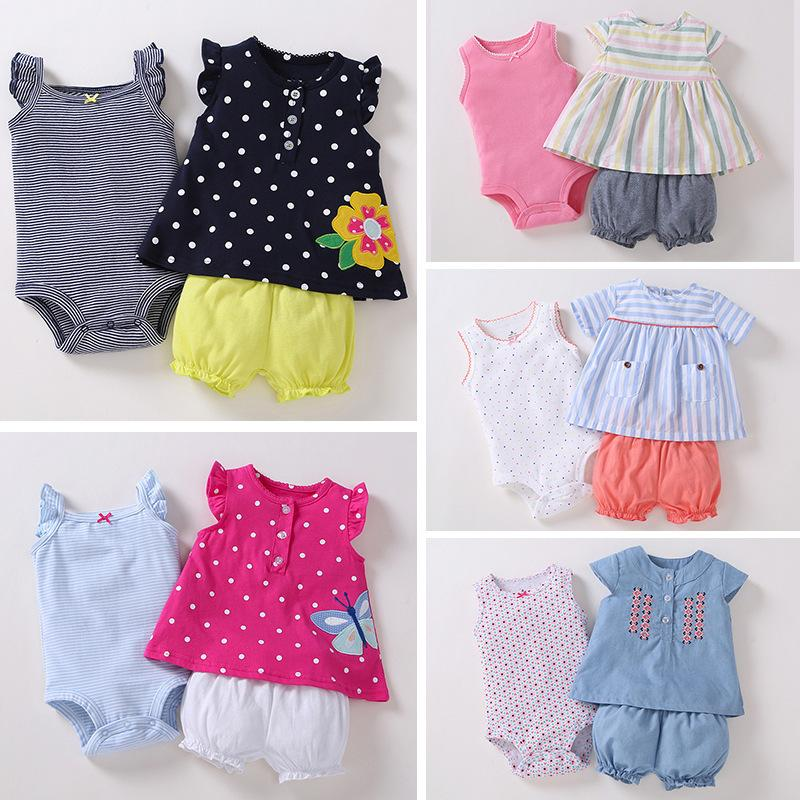 Newborn Baby Girl Clothes Set Sleeveless T-shirt Tops+romper+shorts 2019 Summer Outfit Infant Clothing New Born Suit Fashion Y19050801