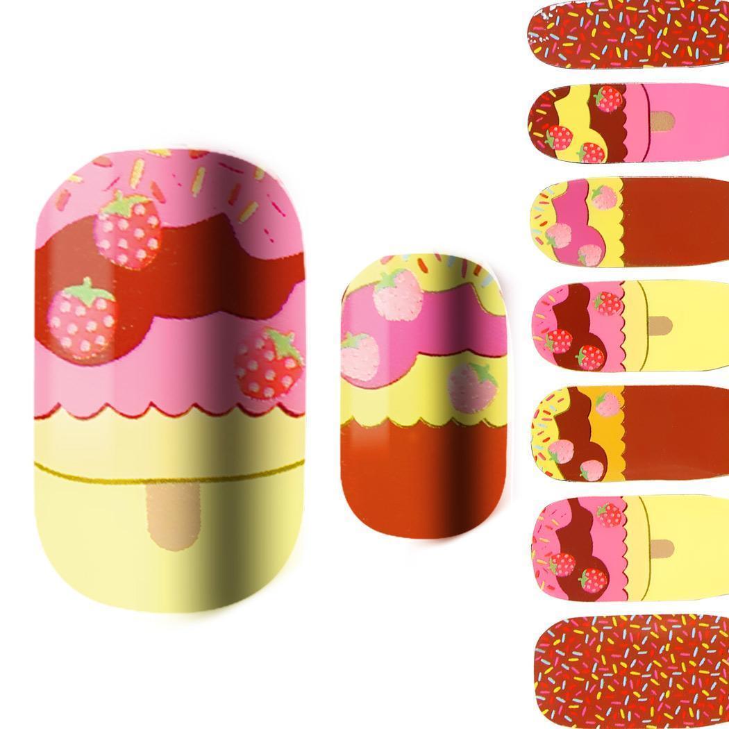 Hot 14Pc Adesivi per autoadesivi per unghie autoadesivi con adesivo completo Polacco Home, Professione, ecc. Decalcomanie per decori Art Decals