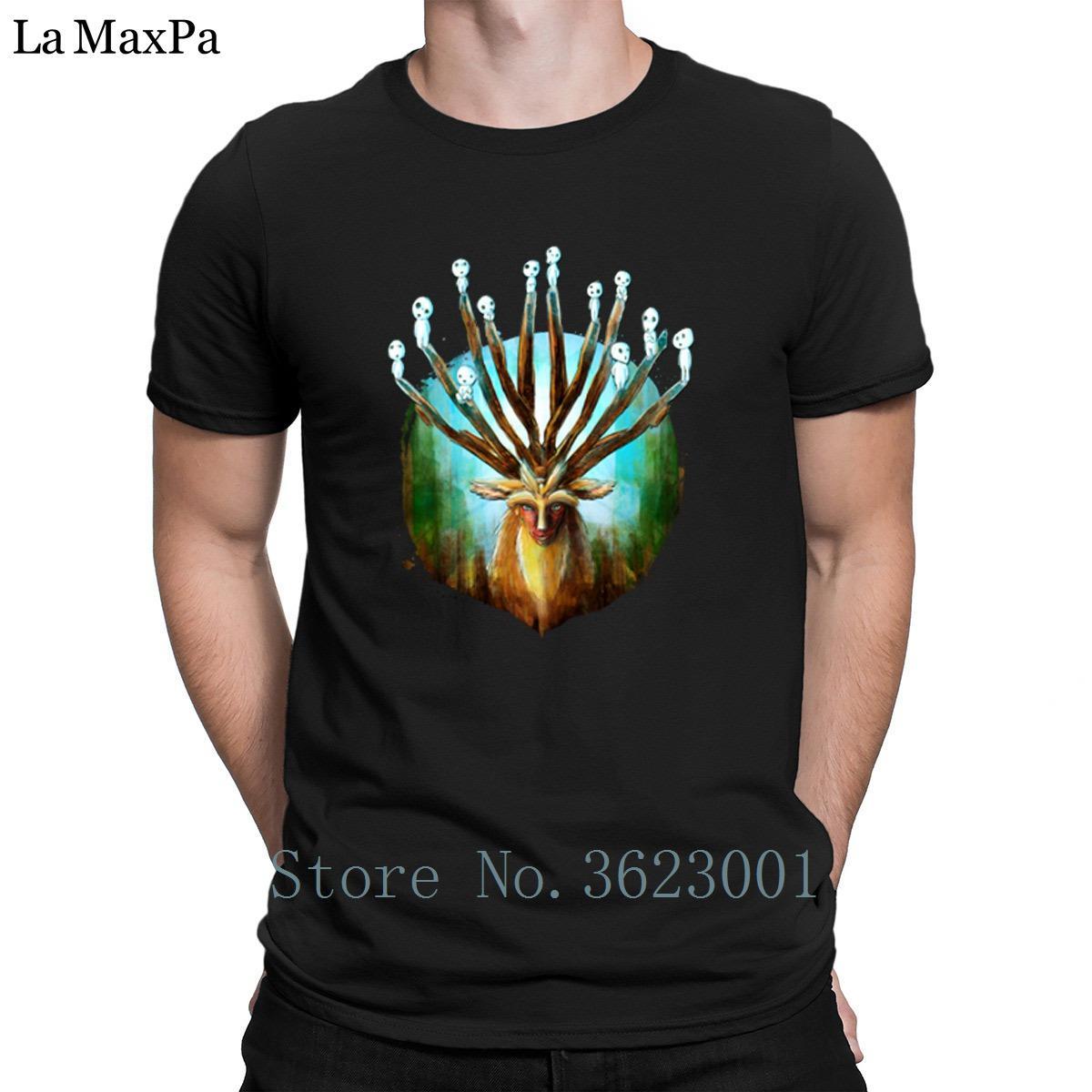 Crear divertido la camiseta para hombre del bosque ciervos Dios Pintura Camiseta para hombre Hombre loco camiseta de cuello redondo Camiseta para los hombres inteligentes fresca