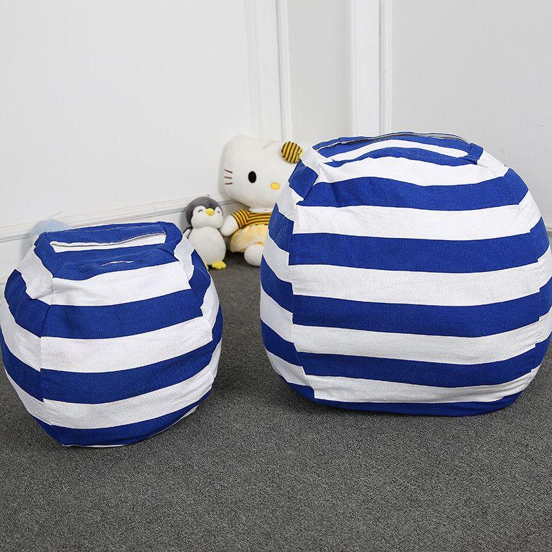 Stripe Lagersitzsack für Kinder Plüschtiere Spielzeug Globular Aufbewahrungstasche Spiel-Matten Tragbare Kleidung Organizer-Tool mit Reißverschluss 6 Farben 2020