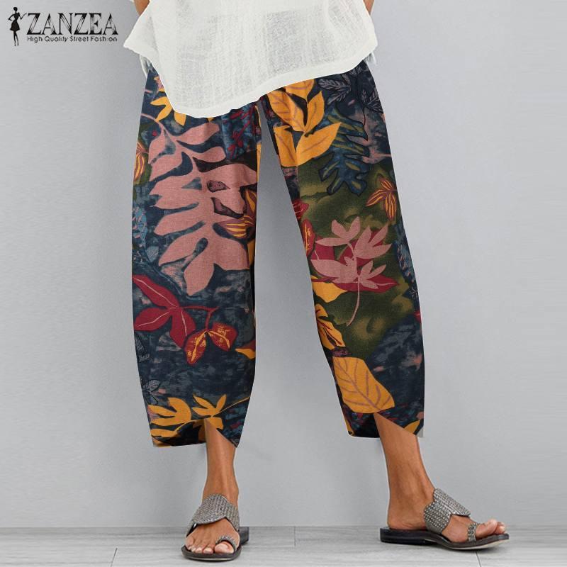2020 여름 꽃 인쇄 바지 ZANZEA 여성 캐주얼 하렘 바지 빈티지 탄성 허리 코튼 리넨 와이드 다리 Pantalon 여성