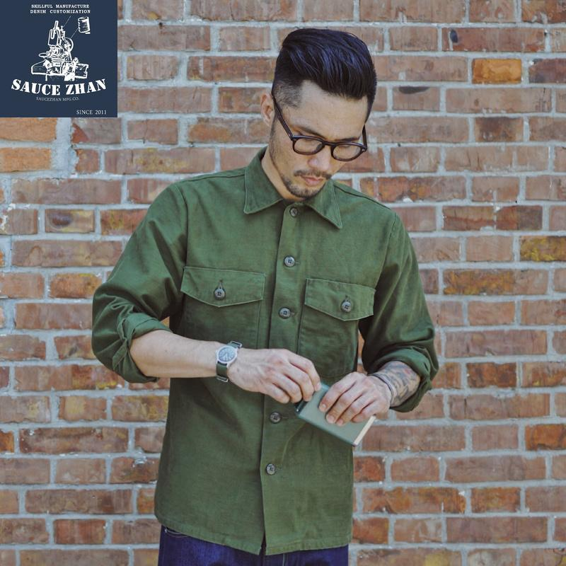 Frieed Mens Cotton Plain Military Army Long Sleeve Vintage Button Down Outdoor Shirt
