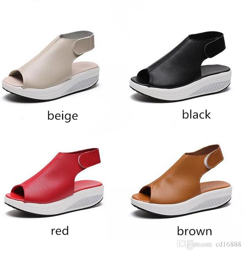 las mujeres del verano al por mayor y al por menor zapatos de las sandalias cuñas de la plataforma de cabeza de pescado sandalias de cuero genuino de pérdida de peso zapatillas de deporte de los zapatos sandalias de las mujeres