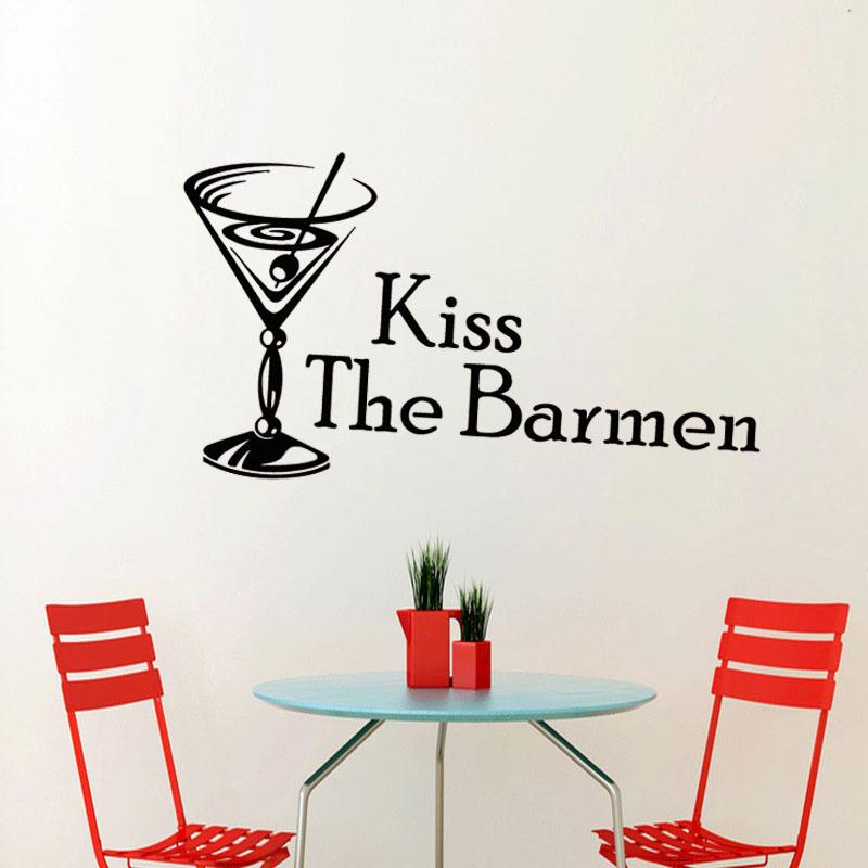 Kiss The Barmen Cocktail Glass Wall Sticker Home Decor Kitchen Wall Decals PVC Removable DIY Room Decoration