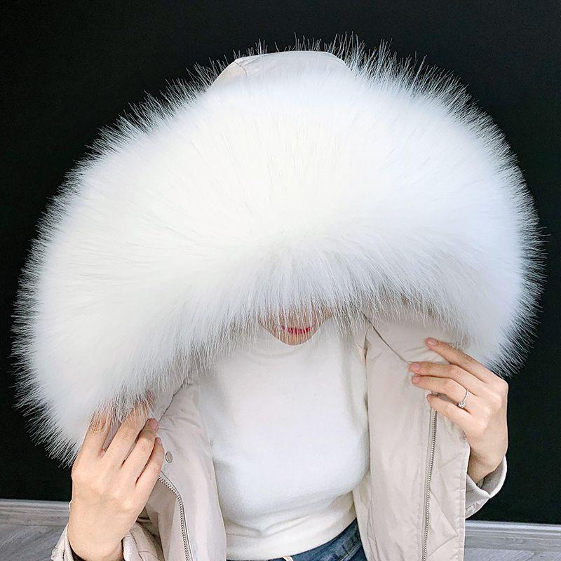 Lady Blinger Extra grand décor capuche en fausse parka d'hiver renard manteau bricolage faux col racoon de fourrure Y200103