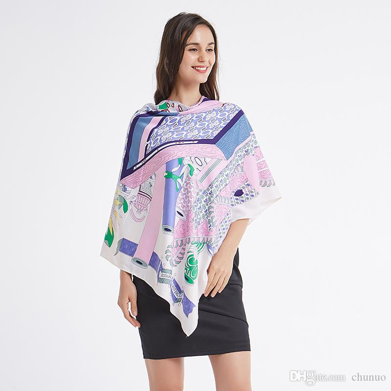 foulard in twill di moda sciarpa di seta di seta telo di seta scialle di protezione 130CM sole di fascia alta regalo di Natale delle donne