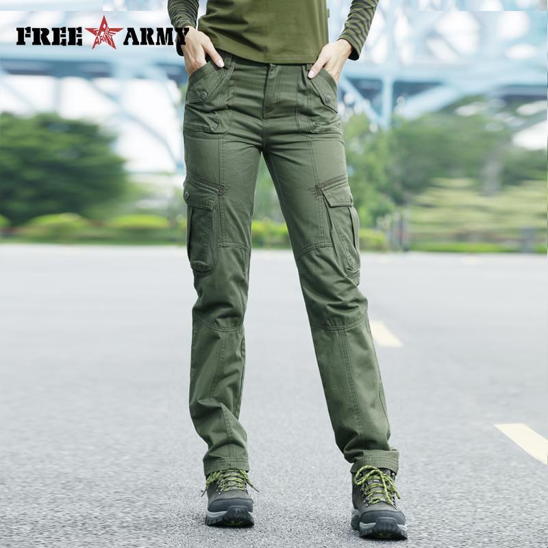 FreeArmy Marke Herbst Hosen für Frauen Armee Hosen Jogginghose Taschen Fracht gerade Hose Damenbekleidung