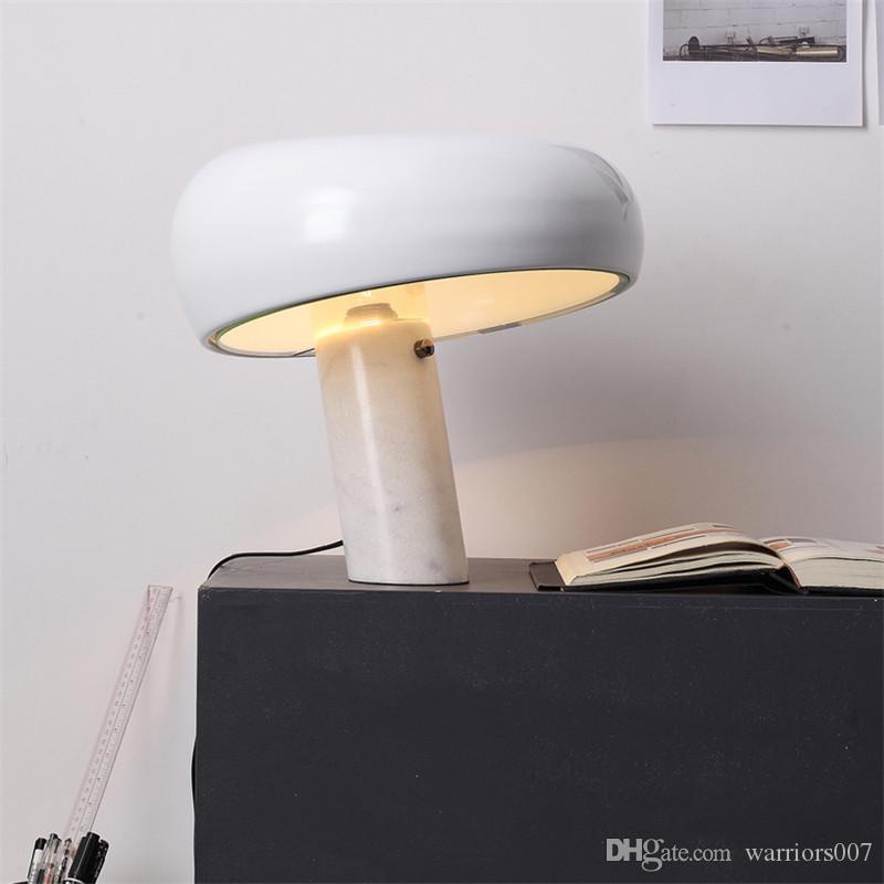 الرخام الإيطالي LED الجدول مصباح الفطر الأبيض القبعة السوداء ضوء الجدول الحديثة فندق فخم نوم دراسة غرفة العين الإنارة الرئيسية