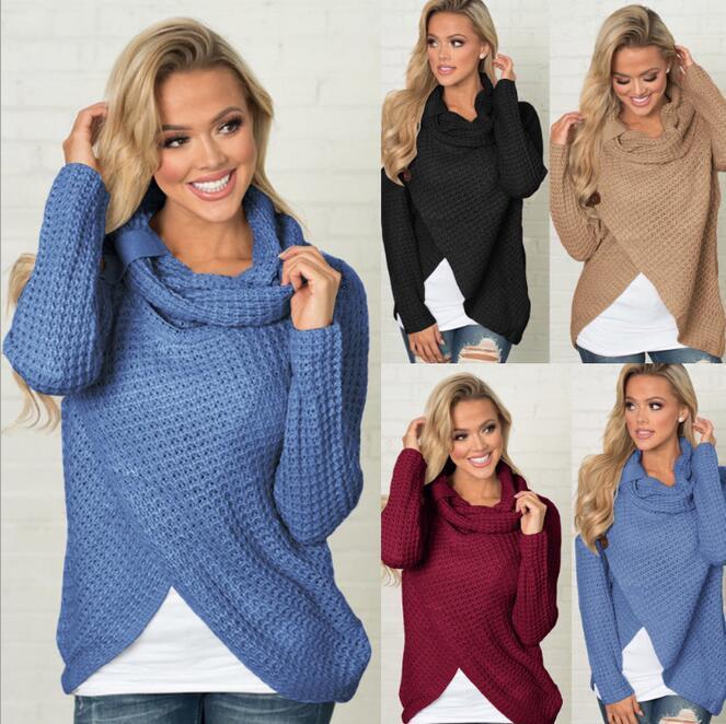 Европейские и американские модели взрыва женские осенние и зимние с длинными рукавами дикий вязаный свитер с длинными рукавами