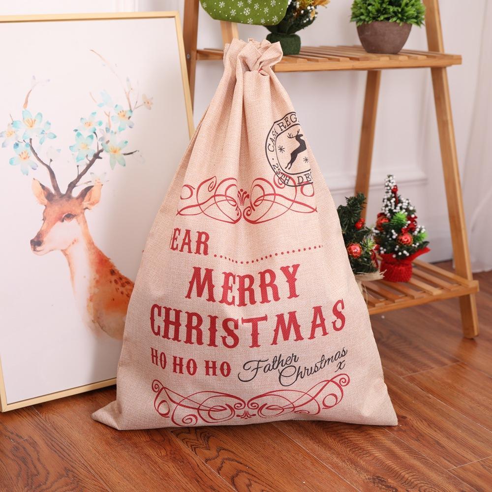 Personalized Christmas Santa Sack XMAS Gift Sack Stocking Storage Canvas Bag