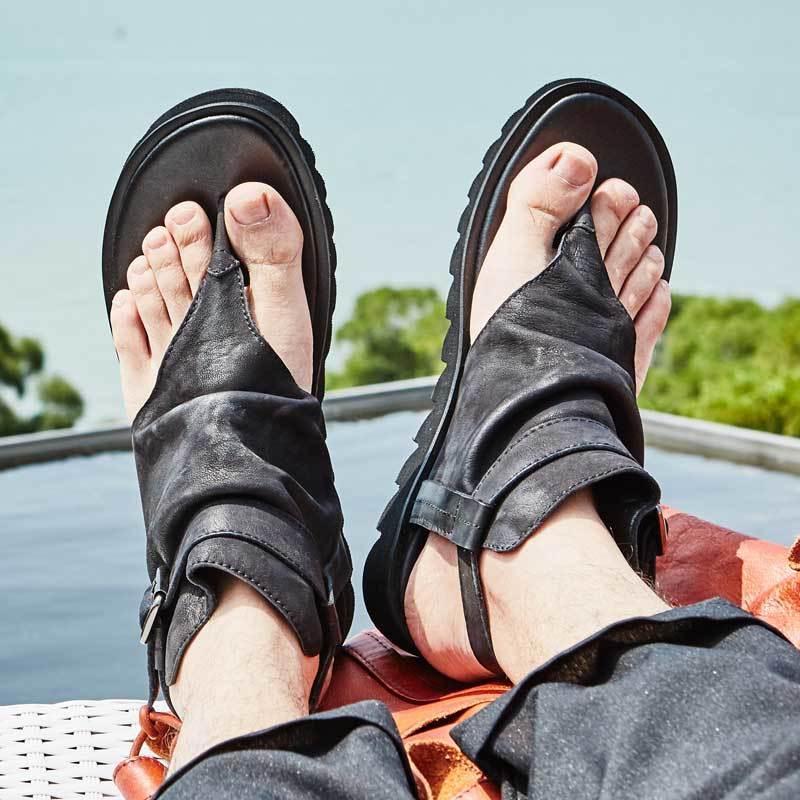 Vintage Erkekler Toka Kayış Sandalet Gladyatörler İngiliz Ayaklı Gerçek Deri Yaz Ayakkabı En Kaliteli Floplar Casual Plaj Sandalet