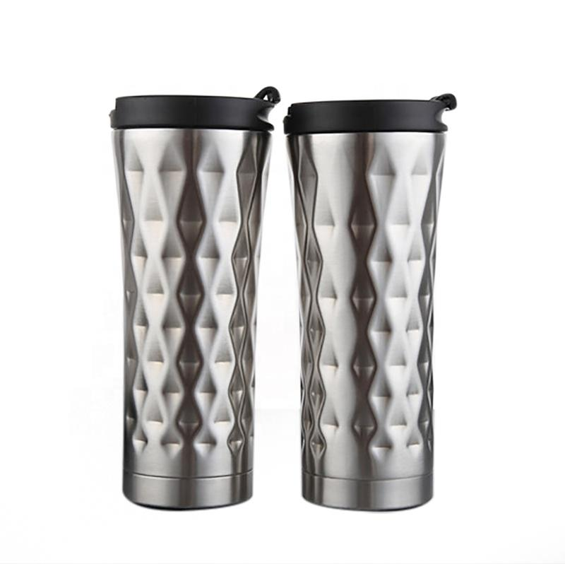 New Arrival 500ml/17oz Logo Printing Double Wall High Quality Stainless Steel Travel Tumbler Cup With Lid