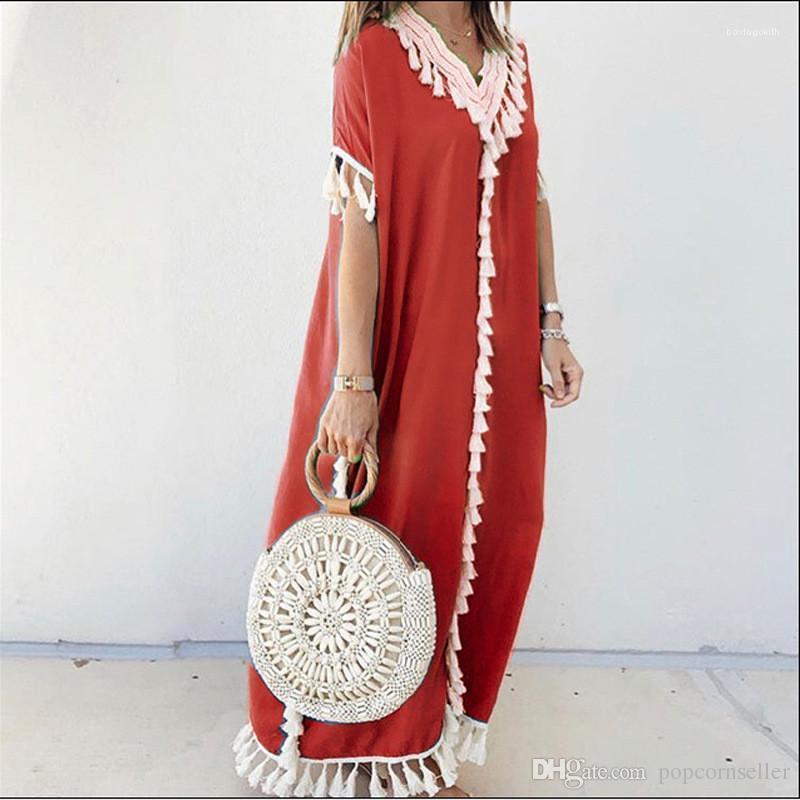 Dresse Printemps Eté V Neck Bohême Fringe colonne Robes femmes de grande taille Vêtements décontractés Mode Femmes Designer