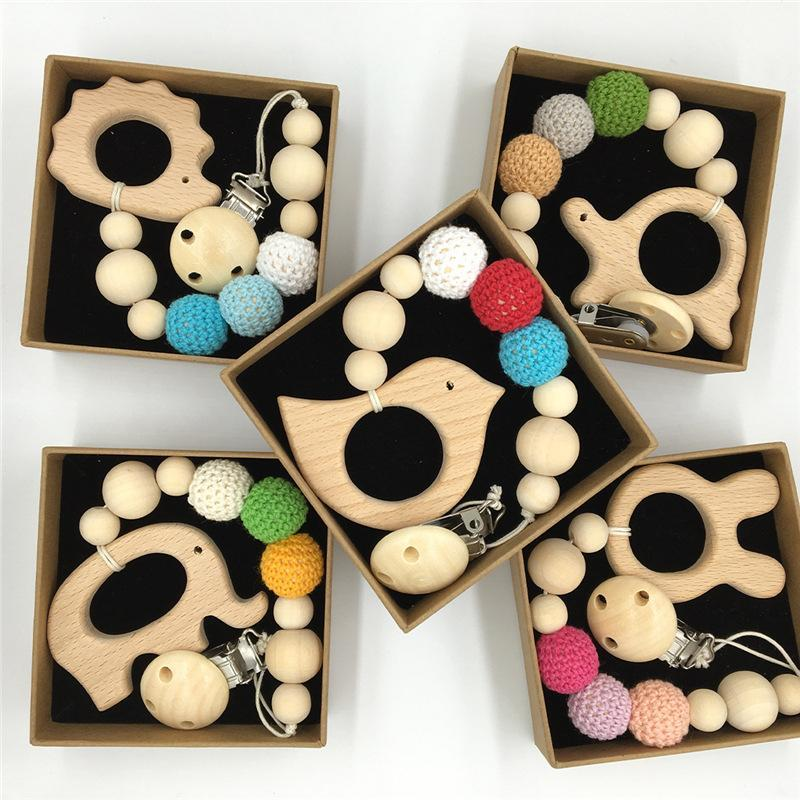 INS Wood Dummy Clip Beech Animal Cartoon Pendant Pacifier Holder Newborn Baby Dummy Clips Wooden Teether Pacifier Clip Teething Toy