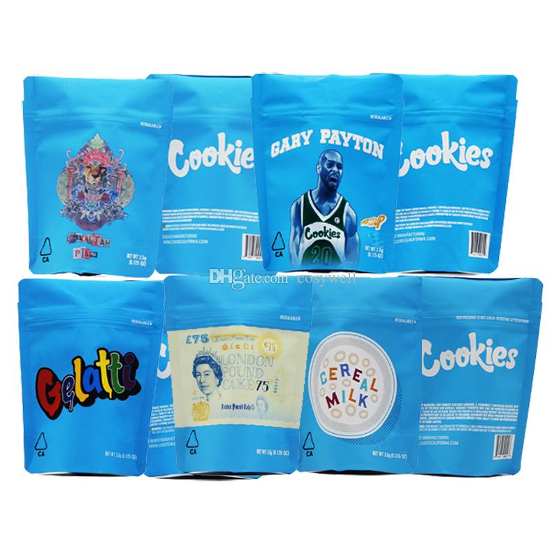 Nuovi cookie California SF 8 3.5g Mylar Childproof 420 Flower Packaging Borse Cheetah Piss Gelatti Gary Payton Londra Pound Cake cereali Latte