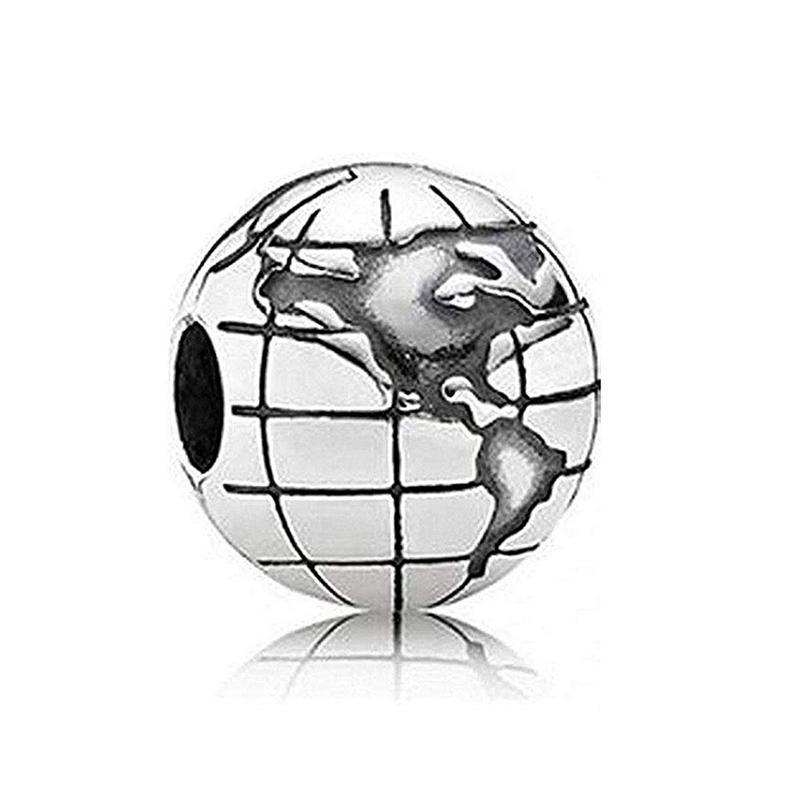Globe Clipe 925 Sterling Silver Charm Clipe espaçadores Stopper prata do grânulo por Pandora Pulseiras fazer jóias