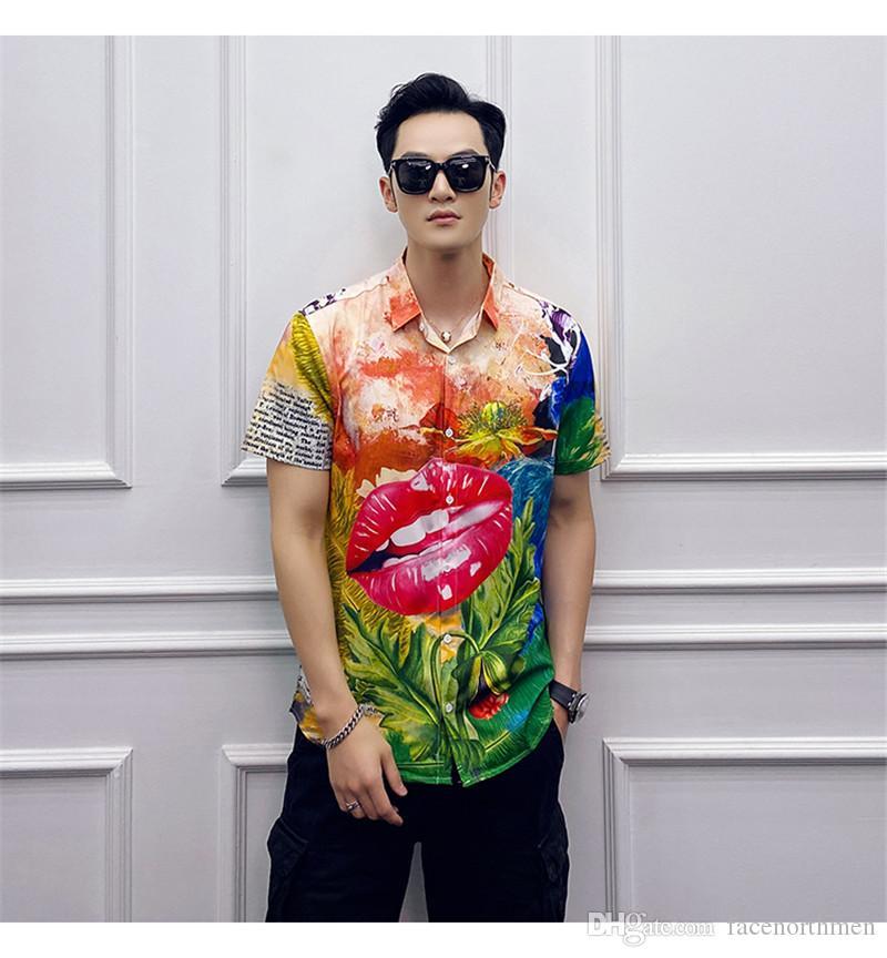 2020 Designer Mens camice di lusso Urban Style Moda floreale stampato Maniche corte risvolto collo camice Estate Uomo Abbigliamento