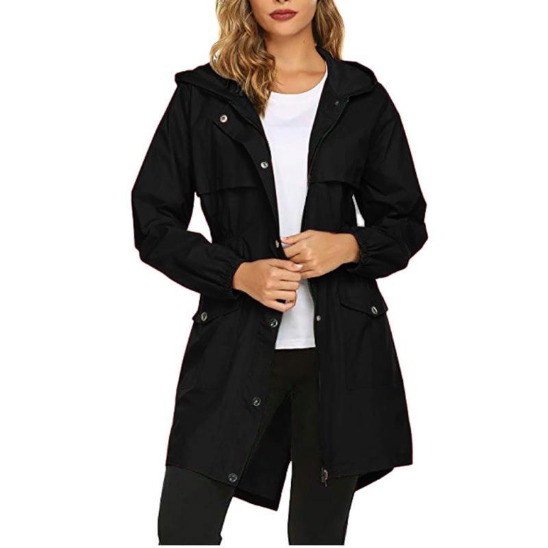 Women Autumn Winter Wind Jacket Outdoor Waterproof Long Maxi Coat Windbreaker UK
