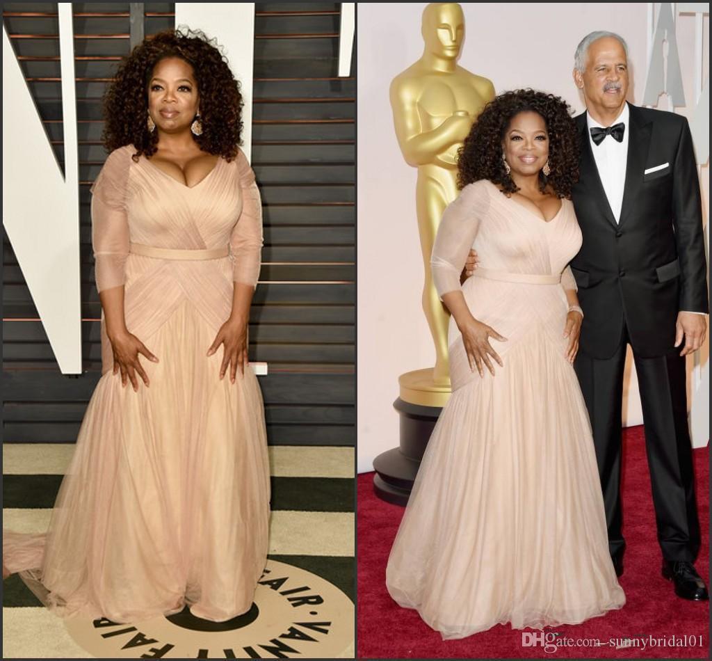 2019 Elegant Oprah Winfrey Celebrity Evening Dresses plus size v neck sheath chiffon with long sleeves mother of bride groom dresses