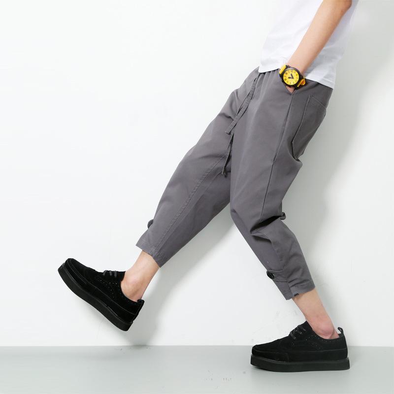 harem pants Helisopus Nero Grigio coulisse sciolto uomini di estate Solid lunghezza della caviglia casuale traversa-pantaloni hiphop harem pants maschili