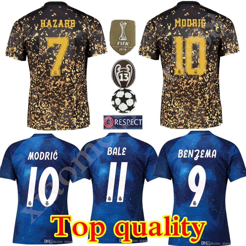 2020 레알 마드리드 한정판 축구 유니폼 블루 EA 스포츠 유니폼 # 12 마르셀로 # 10 모드리치 레알 마드리드 특별 버전 축구 셔츠