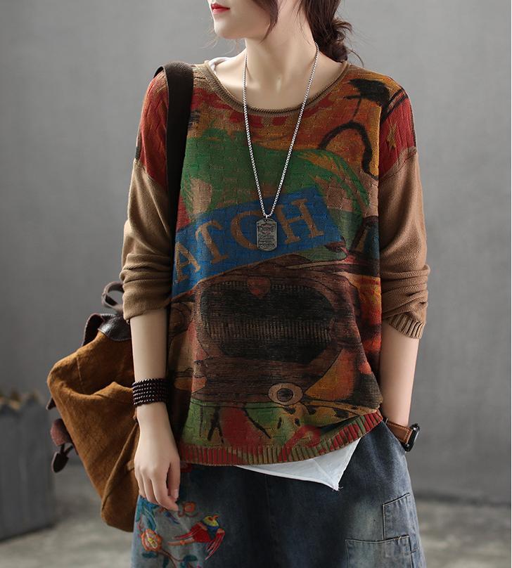 Suéter de primavera Retro Loose Women Knitting Jerseys Tops O-cuello patrón de impresión Vintage suéter damas 2019 Streetwear Casual Tops