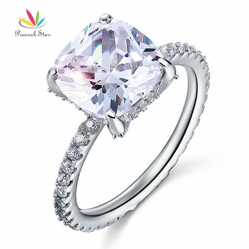 Tavuskuşu Yıldız Katı 925 Ayar Gümüş Düğün Promise Nişan Yüzüğü 5 Karat Yastık Kesim Takı Cfr8092 Y19052201