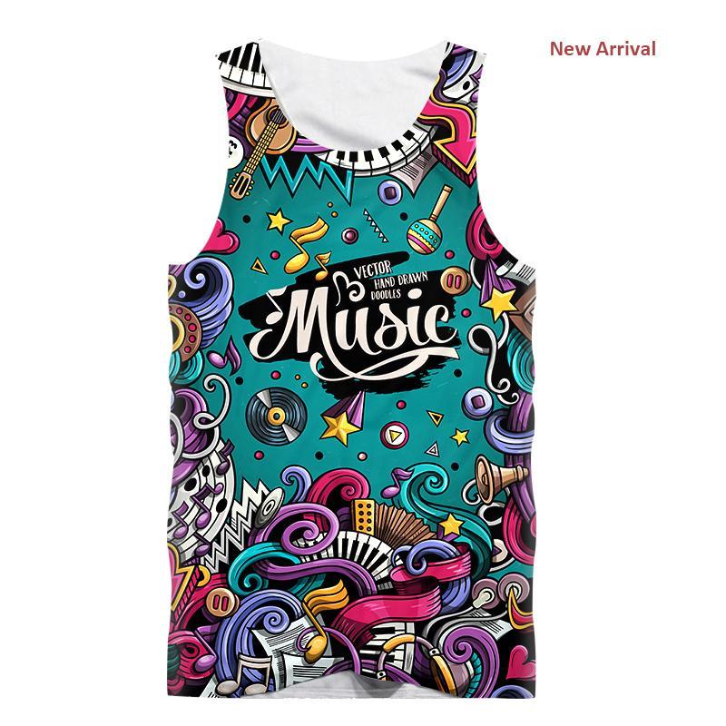 Новые сексуальные майки мужчины без рукавов жилет футболка забавный творческий музыкальный плакат 3d печать фитнес футболка бодибилдинг оптовая продажа майка