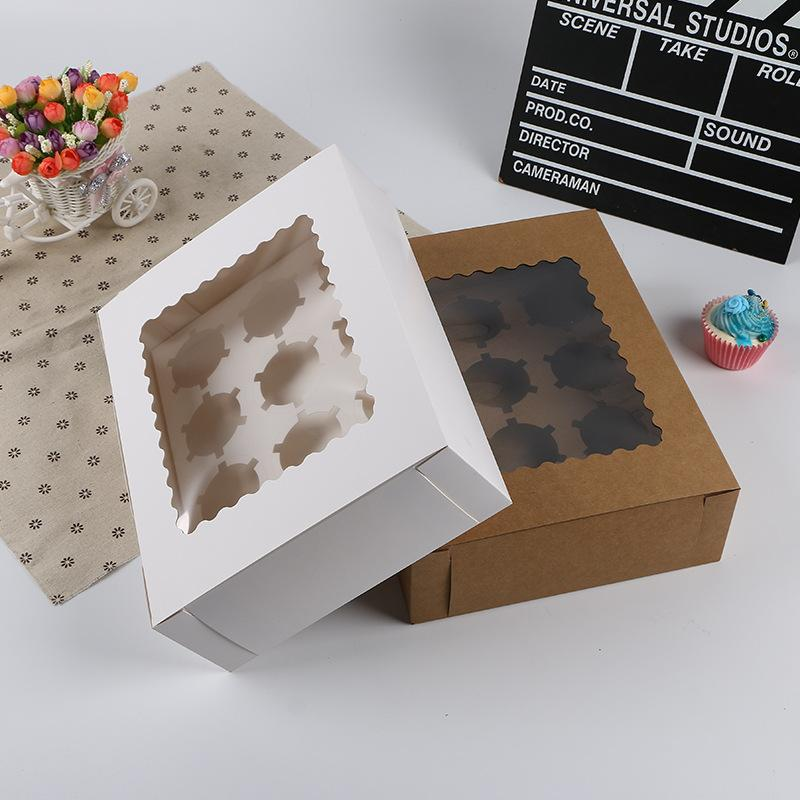 5pcs 12 Cup Kraft Paper Muffin Cake Box Cupcake Box With Cake Tray Party Candy Gift Wedding Birthday Dessert Packaging Case