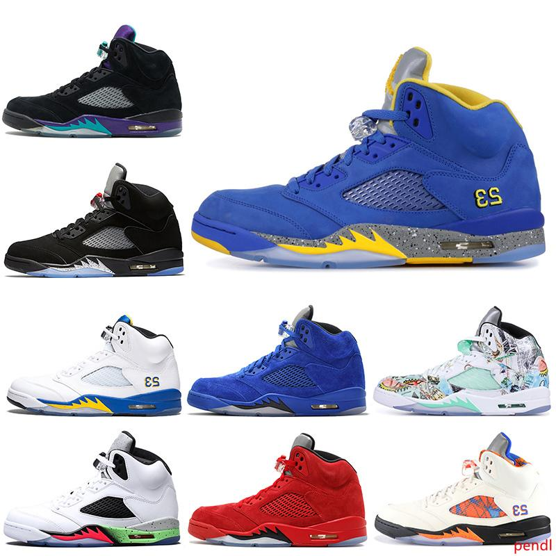 2019 Laney 5s Men Basketball Shoes 5 Bred International Flight Blue Red Suede White Cement Metallic Black 3M Reflect Mens Sports Sneakers
