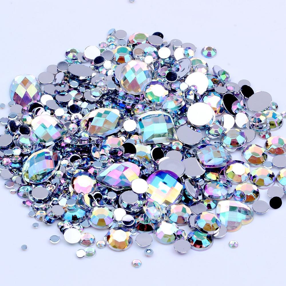 Düğün Giyim Dekorasyon için Karışık Boyutları 1000pcs Crystal AB Yuvarlak Akrilik Gevşek Flatback Rhinestones Nail Art Kristal Taşlar