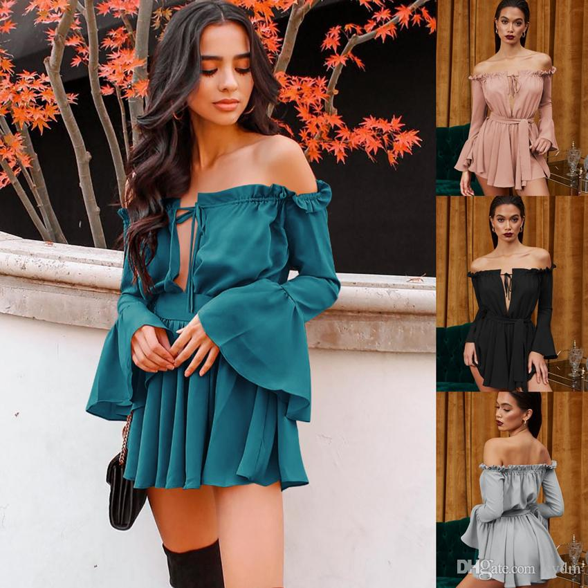 Spot 2019 European solid color sexy tube top word collar speaker long sleeve casual street dress, support mixed batch