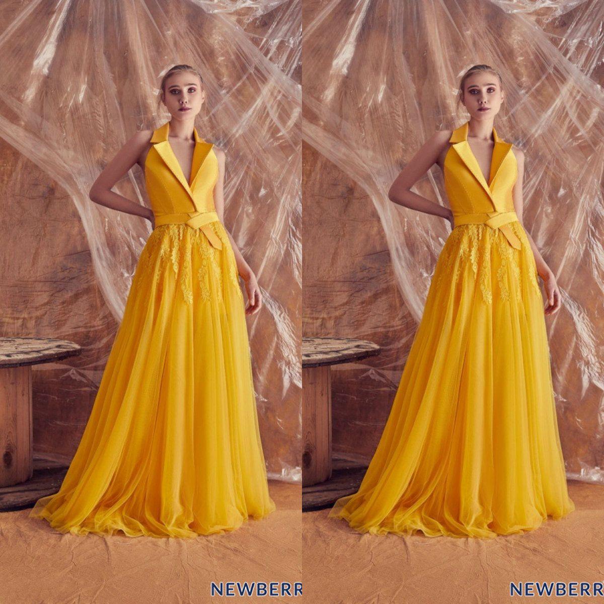 Yellow Evening Dresses V Neck Sweep Train A Line Zuhair Murad Prom Dress Custom Made Formal Party Gowns Vestidos De Novia