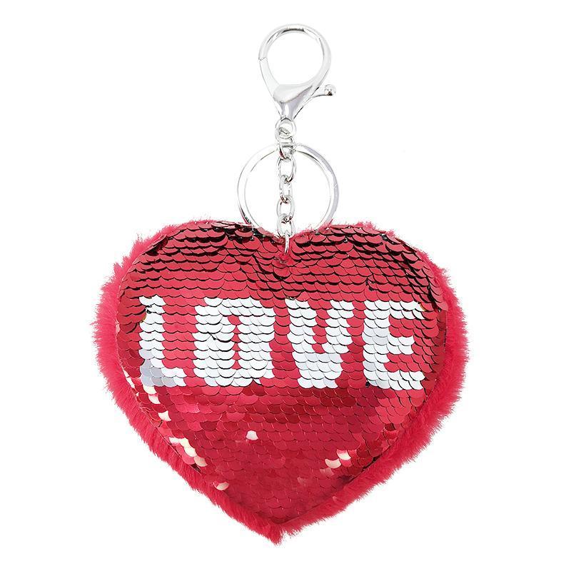 Valentine Gift Nuova reversibile Paillettes portachiavi amore chiave di Keychain pendente del sacchetto dell'anello fascino della peluche del cuore catena Holder figura di chiave di colore rosso